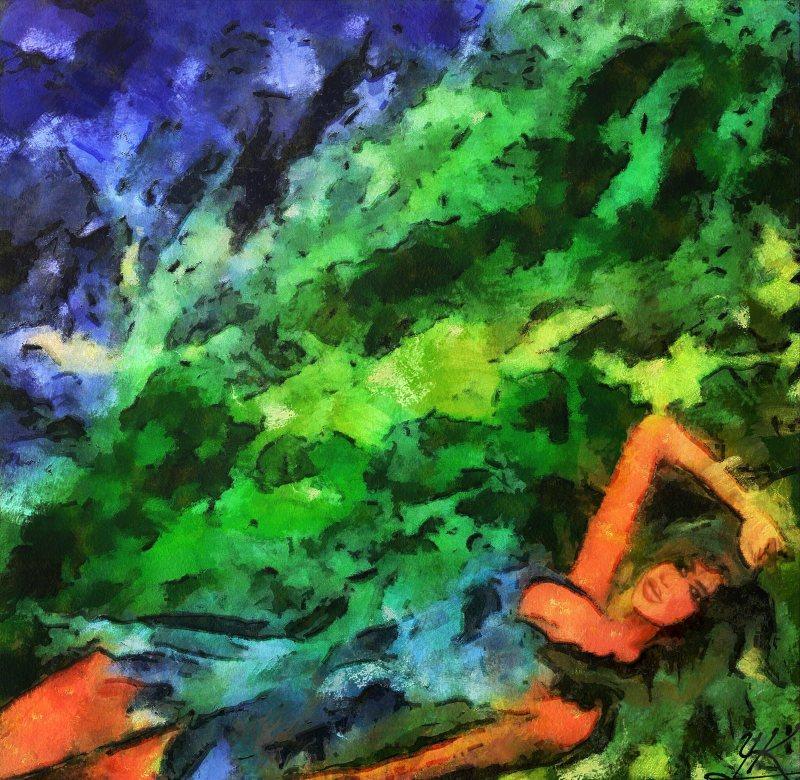 """""""Blue Dress In Grass"""", 2014, Yuriy Ku Drop"""